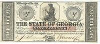 STATE OF GEORGIA MILLEDGEVILLE $5 1862 SIGNED ISSUED BLACK T SEAL 113938