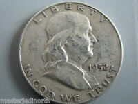 1952 D FRANKLIN SILVER HALF DOLLAR COIN  CIRCULATED  VG  NCF01