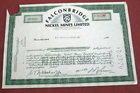 FALCONBRIDGE NICKEL MINES STOCK CERTIFICATE E.F. HUTTON1970 U