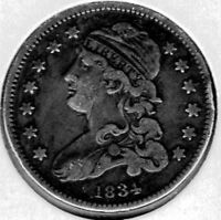1834 US CAPPED BUST QUARTER XF  TOTAL MINTAGE OF ONLY 286,000 GREAT PATINA