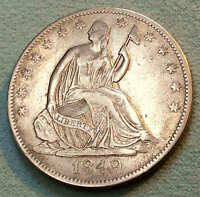 1849 O SEATED HALF DOLLAR SHARP PRETTY COIN  DATE NICE