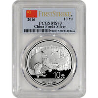 2016 CHINA SILVER PANDA  30 G  10 YUAN   PCGS MS70   FIRST STRIKE