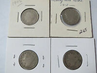 1898, 1902, 1910, 1912 - 4 DIFF LIBERTY HEAD V NICKELS 5 CENTS COIN LOT 5