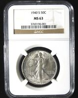 1940-S WALKING LIBERTY HALF - NGC MINT STATE 63 - D&B COIN