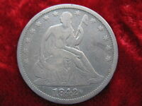 1842 P SEATED LIBERTY SILVER HALF DOLLAR BETTER GRADE ORIGINAL COIN TOUGH DATE
