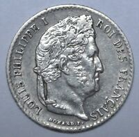 1843 A FRANCE   1/4 FRANC   .900 SILVER   LOUIS PHILIPPE I   NICE HIGH GRADE