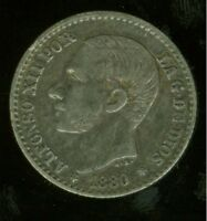 SPAIN 50 CENTIMOS 1880 80 MS M KING ALFONSO XII HIGH GRADE COIN AS SHOWN
