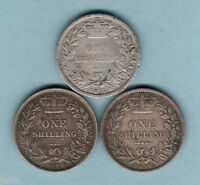 GREAT BRITAIN : SHILLINGS   1877 VG 1879 VF & 1880 F/F.. 3 COINS