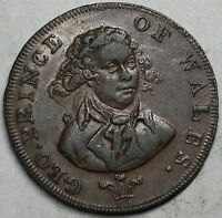 1790S PRINCE OF WALES GEORGE IV CONDER 1/2 PENNY TOKEN MIDDLESEX D&H 952A