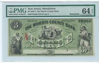 NEW JERSEY MORRISTOWN MORRIS BANK $3 1862 PMG CURRENCY G26C BLACKSMITH EAGLE