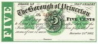 NEW JERSEY BOROUGH PRINCETON 5 CENTS CHRISTMAS DAY 1862 GREEN OVERPRINT 2116