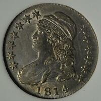 1814 BU CAPPED BUST HALF DOLLAR MS MINT STATE  UNCIRCULATED 90 SILVER COIN