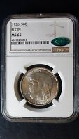 1936 P ELGIN NGC & CAC MINT STATE 65 SILVER HALF DOLLAR COMMEMORATIVE COIN