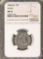 1846/46 SEATED LIBERTY QUARTER MS61 NGC   VP 001.    NGC HAS ONLY GRADED 2