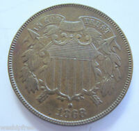 1868 TWO CENT COIN IN AU - CIVIL WAR ERA- 816C