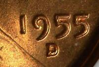 1955 D/D MS65 RD LINCOLN CENT  ERROR COPPER COIN WHEAT PENNY 654 SHIPS FREE