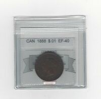 1888,COIN MART GRADED CANADIAN LARGE ONE CENT EF 40