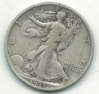 VERY NICE VINTAGE BETTER GRADE 1935 S WALKING LIBERTY SILVER COIN MAY085