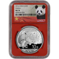 2016 CHINA SILVER PANDA  30 G  10 YUAN   NGC MS70   NGC RED CORE HOLDER