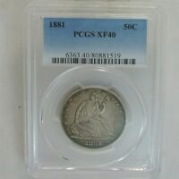 1881 LIBERTY SEATED HALF DOLLAR 50C   CERTIFIED & GRADED PCGS XF40   KEY DATE