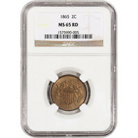 1865 US TWO-CENT PIECE 2C - NGC MINT STATE 65 RD