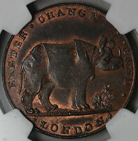 1790S NGC MS 62 RHINO & ELEPHANT PIDCOCK'S 1/2 PENNY MIDDLESEX DH 416B 14120103