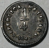 1843 MO  DATE ERROR 1/4 REAL MEXICO FRACTIONAL SILVER REAL AU UNLISTED