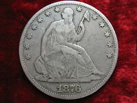 1876 P SEATED LIBERTY SILVER HALF DOLLAR HIGHER GRADE BEAUTY