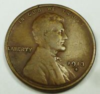 1913-S UNITED STATES LINCOLN HEAD WHEAT CENT / PENNY F DETAILS REVERSE CORROSION