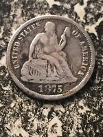 1875 U.S. SEATED LIBERTY DIME 10 CENT LOT2415 SILVER