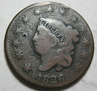 1826 EARLY COPPER LARGE CENT COIN GRADES GOOD 426E