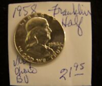 1958  FRANKLIN HALF DOLLAR  VERY CHOICE BRILLIANT UNCIRCULATED