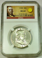 1958 NGC MS 64 UNITED STATES FRANKLIN HALF DOLLAR   FRANKLIN LABEL