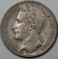 1849 BELGIUM SILVER 5 FRANCS LARGE CROWN SIZE COIN KING LEOPOLD I 16062925R
