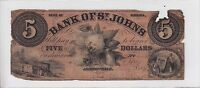 1860 BANK OF ST. JOHNS $5 NOTE FLORIDA OBSOLETE CURRENCY