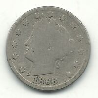 A VINTAGE GOOD CONDITION BETTER DATE 1898 LIBERTY HEAD NICKEL COIN-JUL901