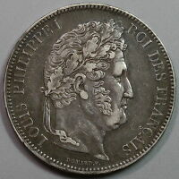 1843 BB FRANCE LOUIS PHILIPPE SILVER 5 FRANCS STRASBOURG MINT COIN 16052404R