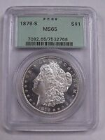 1879 S MORGAN DOLLAR PCGS MINT STATE 65 OGH OLD GREEN HOLDER