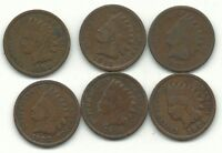 LOT OF 6 INDIAN HEAD CENTS 1887,1893,1898,1904,1906,1908 JUL725