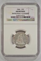 UNITED STATES 1846 SEATED LIBERTY QUARTER NGC AU DETAILS CLEANED 25C 3709319 015