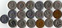 COMPLETE YEAR SET OF 19 KING GEORGE VI ERA 5 CENT COINS.