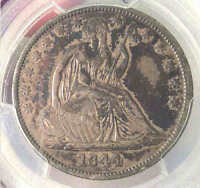 1844 SEATED HALF DOLLAR  DATE XF DETAIL PCGS SHARP NICE