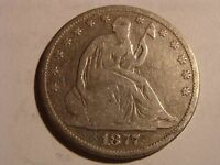 1877 SEATED LIBERTY HALF DOLLAR   NICE                               T