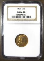 1936 S LINCOLN WHEAT   NGC MS66 RED