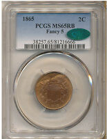1865 FANCY 5 TWO CENT MINT STATE 65RB PCGS CAC