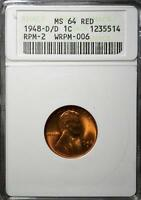 1948 D/D MS64 RD LINCOLN CENT MINT ERROR WHEAT PENNY 514  COPPER SHIPS FREE