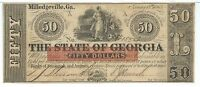 STATE OF GEORGIA MILLEDGEVILLE $50 1865 ISSUED RED OVERPRINT  1554 CERES