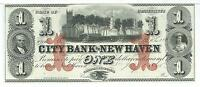 CONNECTICUT CITY BANK OF NEW HAVEN $1 UNISSUED 1865 GEM G12C GREEN 46111A