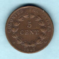 FRENCH COLONIES. 1843 A  5 CENTIMES..  AVF