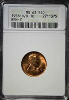 1956 D/D MS63 RD LINCOLN CENT 375 CHOICE UNC ERROR  COPPER PENNY SHIPS FREE